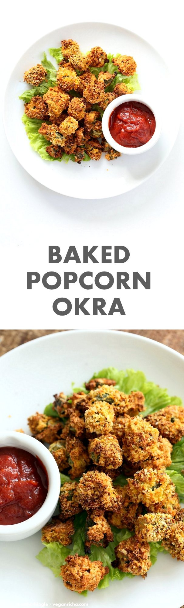 Baked Popcorn Okra. Okra / Bhindi coated in chickpea flour batter, tossed in spiced breadcrumbs and baked until crunchy crisp. #Vegan #Recipe, can be #glutenfree and #oilfree.   VeganRicha.com