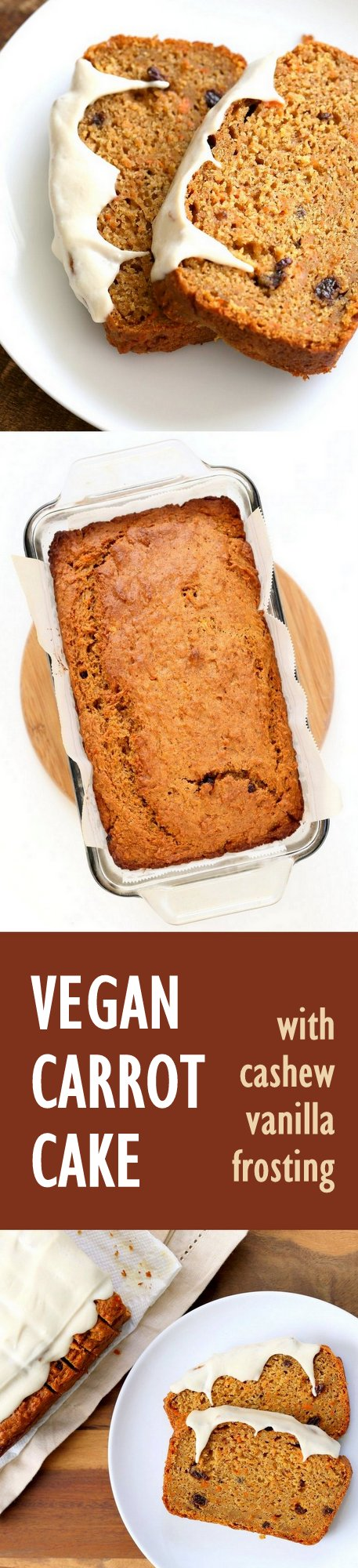 Vegan Carrot Cake Recipe with cinnamon and cardamom. Vegan Carrot Cake Quick bread loaf with Cashew Cream Frosting. Moist, spiced, full of carrots. Low oil. #vegan #Soyfree #Palmoilfree #Easter #recipe | VeganRicha.com