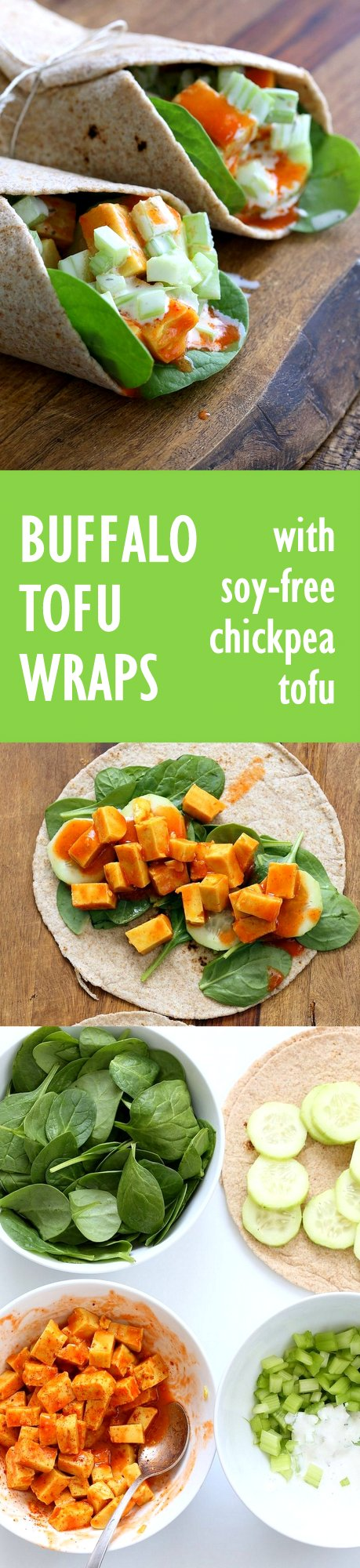 Buffalo Tofu wrap with Chickpea Tofu. Soy-free Chickpea flour Tofu tossed in buffalo hot sauce, layered with celery, spinach, cucumbers and vegan ranch. #vegan #glutenfree #soyfree #Easy weekday meal #Recipe | VeganRicha.com
