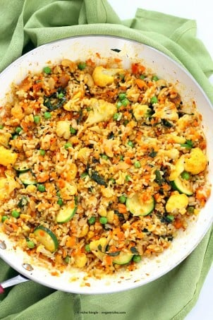 Vegetable Carrot Fried Rice with Indian spices. Carrot Veggie Brown Rice Pilaf. Colorful flavorful side for Easter or Holidays. Vegan Glutenfree Soyfree Recipe | VeganRicha.com