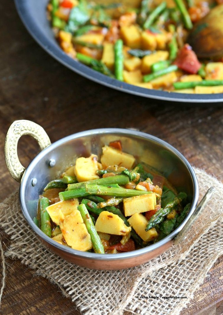 Easy Asparagus Curry with Chickpea Tofu and Indian Spices and tomato sauce. Indian Vegan Gluten-free Soy-free Recipe. Serve with Rice or flatbread. | VeganRicha.com
