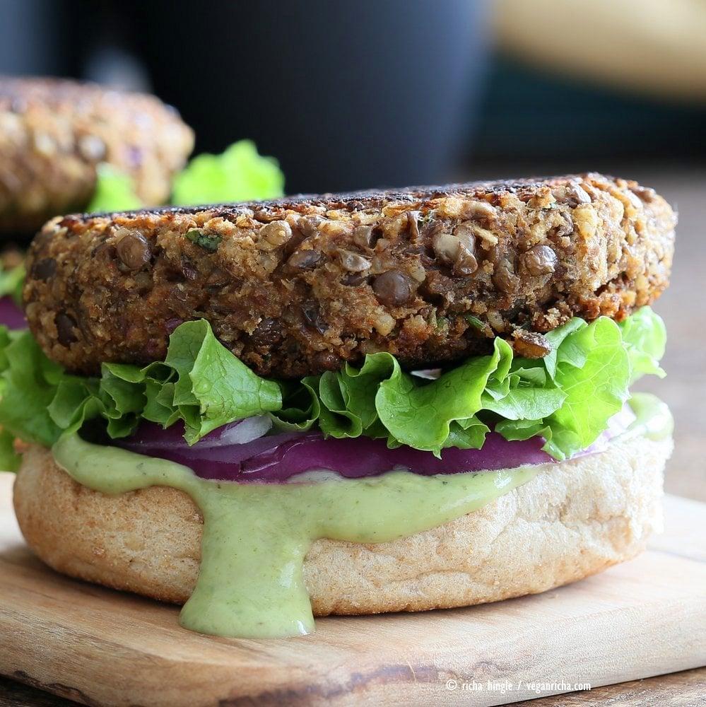 Spiced Lentil Walnut Burgers. Easy Flavorful Burger patties with avocado ranch. #Vegan #Burger #Recipe. #Soyfree Easily #glutenfree | VeganRicha.com