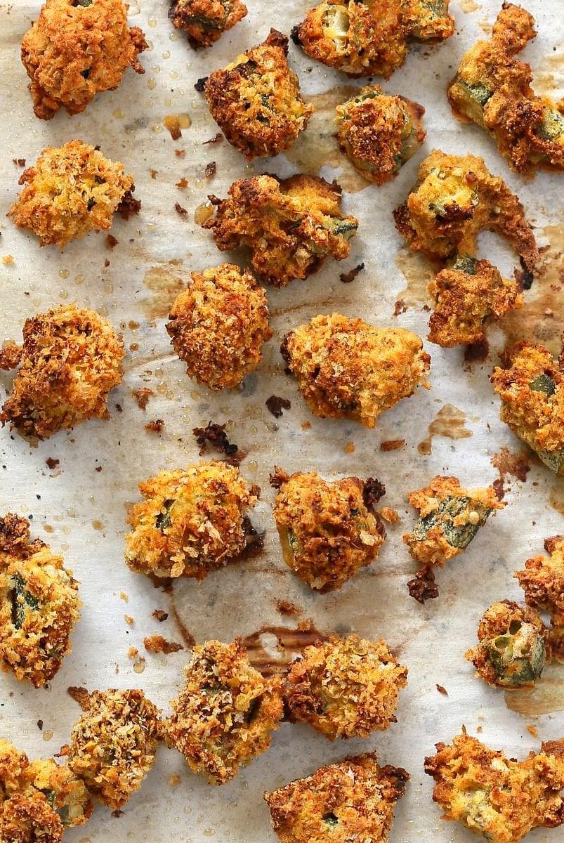 Baked Popcorn Okra. Okra /bhindi tossed in chickpea flour batter, coated in spiced breadcrumbs and baked until crunchy crisp. Vegan Recipe, can be gluten-free   VeganRicha.com