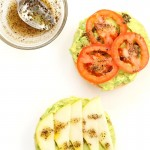 Avocado Bagels with Pears and Tomatoes and Mediterranean Oregano Garlic Olive Oil Dressing Bagel Avocado Toast. Easy Vegan Snack or Breakfast. | VeganRicha.com #glutenfree #veganricha #vegan