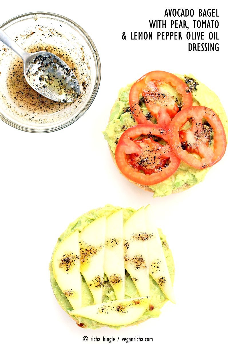 Avocado Bagels with Pears and Tomatoes and Mediterranean Oregano Garlic Olive Oil Dressing. Bagel Avocado Toast. Easy Vegan Snack or Breakfast. | VeganRicha.com