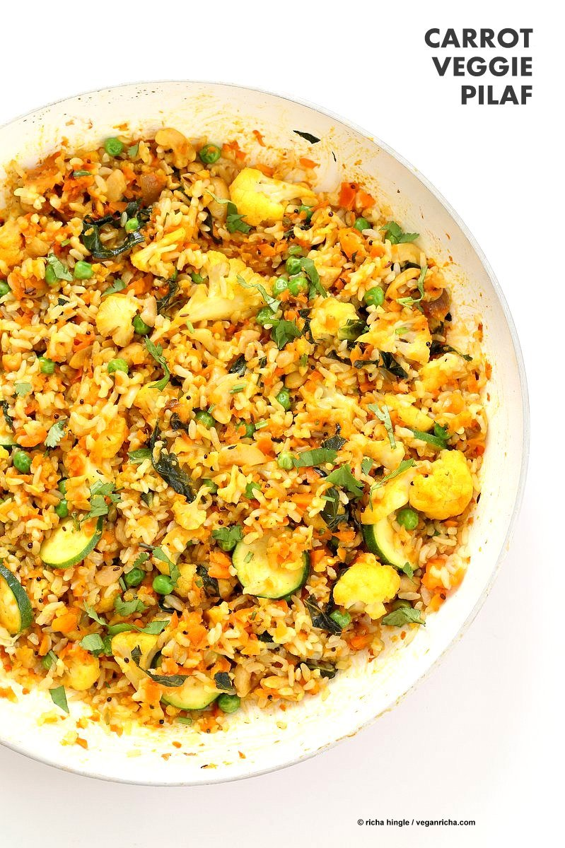 Vegetable Carrot Fried Rice with Indian spices and shredded Carrots. Carrot Veggie Brown Rice Pilaf. Colorful flavorful side for Easter or Holidays. #Vegan #Glutenfree #Soyfree #Recipe | VeganRicha.com 30 minute meal