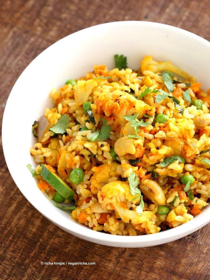 Vegetable Carrot Fried Rice with Indian spices. Carrot Veggie Brown Rice Pilaf. Colorful flavorful side for Easter or Holidays. Vegan Glutenfree Soyfree Recipe   VeganRicha.com
