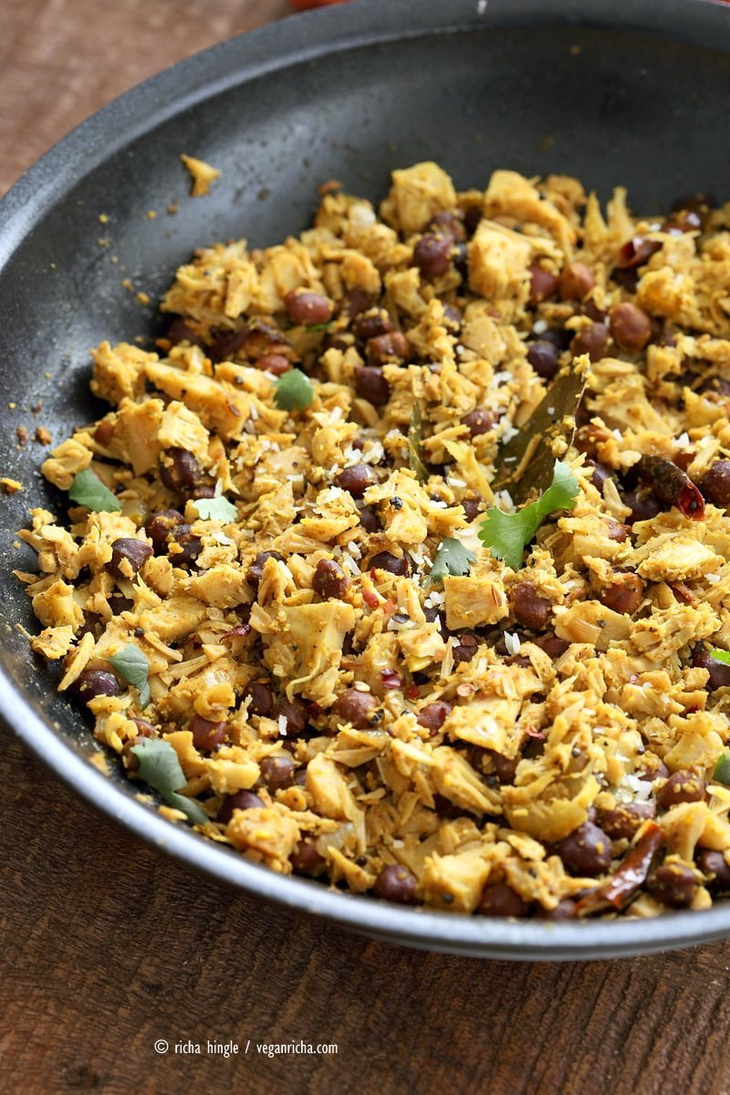 Fanasachi Bhaji - Maharashtrian Jackfruit Brown Chickpea Coconut Stir fry with coconut, sesame, Indian spices. Vegan Gluten-free Soy-free Side Recipe.| VeganRicha.com