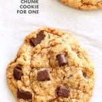 Vegan Chocolate Chunk Cookies for two o for 1. Easy Chocolate chip cookies that make 2 large cookies. Vegan Soyf-ree Palm Oil-free Recipe | VeganRicha.com #glutenfree #veganricha #vegan