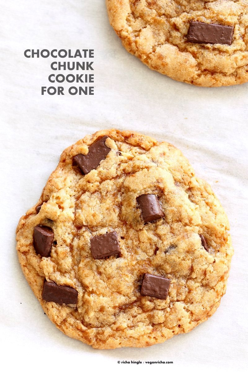 Vegan Chocolate Chunk Cookies for two or for 1. One bowl Easy Chocolate chip cookies that make 2 large cookies. Vegan Soyfree Palm Oil-free Recipe | VeganRicha.com