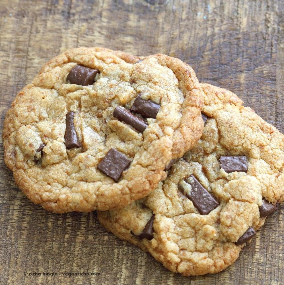 Vegan Chocolate Chunk Cookies for two or for 1. Easy Chocolate chip cookies that make 2 large cookies. Vegan Soyfree Palm Oil-free Recipe | VeganRicha.com