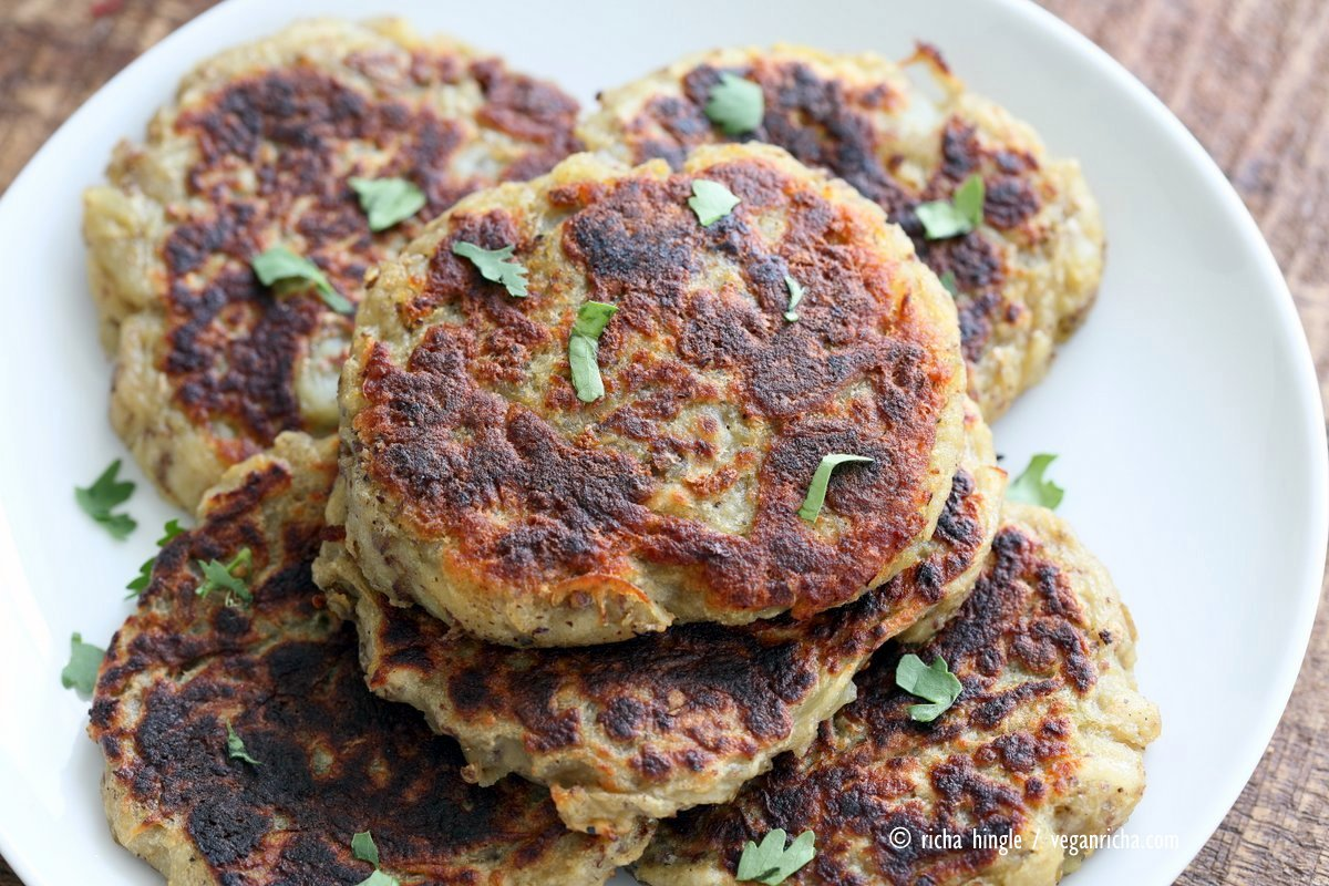 Traditional Irish potato pancake known as boxty, made eggless and vegan. Serve with avocado basil garlic ranch dressing. Vegan Soyfree Recipe | VeganRicha.com
