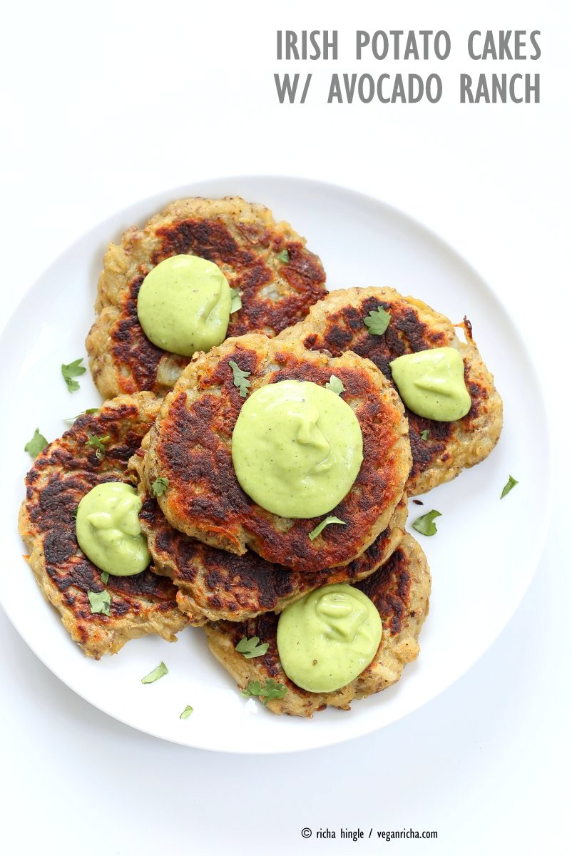 Traditional Irish potato cakes known as boxty, made eggless and vegan. Serve with avocado basil garlic ranch dressing. Vegan Soyfree Recipe | VeganRicha.com