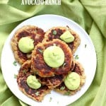 Traditional Irish potato cakes known as boxty, made eggless and vegan. Serve with avocado basil garlic ranch dressing. Vegan Soyfree Recipe | VeganRicha.com #glutenfree #veganricha #vegan