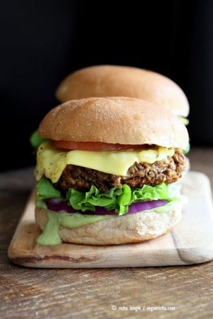Spiced Lentil Walnut Burgers. Easy Flavorful Burger patties with avocado ranch. Vegan Burger Recipe. Soyfree Easily gluten-free | VeganRicha.com