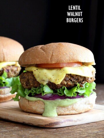 Spiced Lentil Walnut Burgers. Easy Flavorful Burger patties with avocado ranch. Vegan Burger Recipe. Soyfree Easily gluten-free | VeganRicha.com #glutenfree #veganricha #vegan