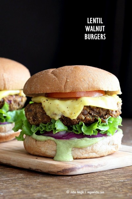 Spiced Lentil Walnut Burgers. Easy Flavorful Burger patties with avocado ranch. Vegan Burger Recipe. Soyfree Easily gluten-free | VeganRicha.com #glutenfree #veganricha #vegan