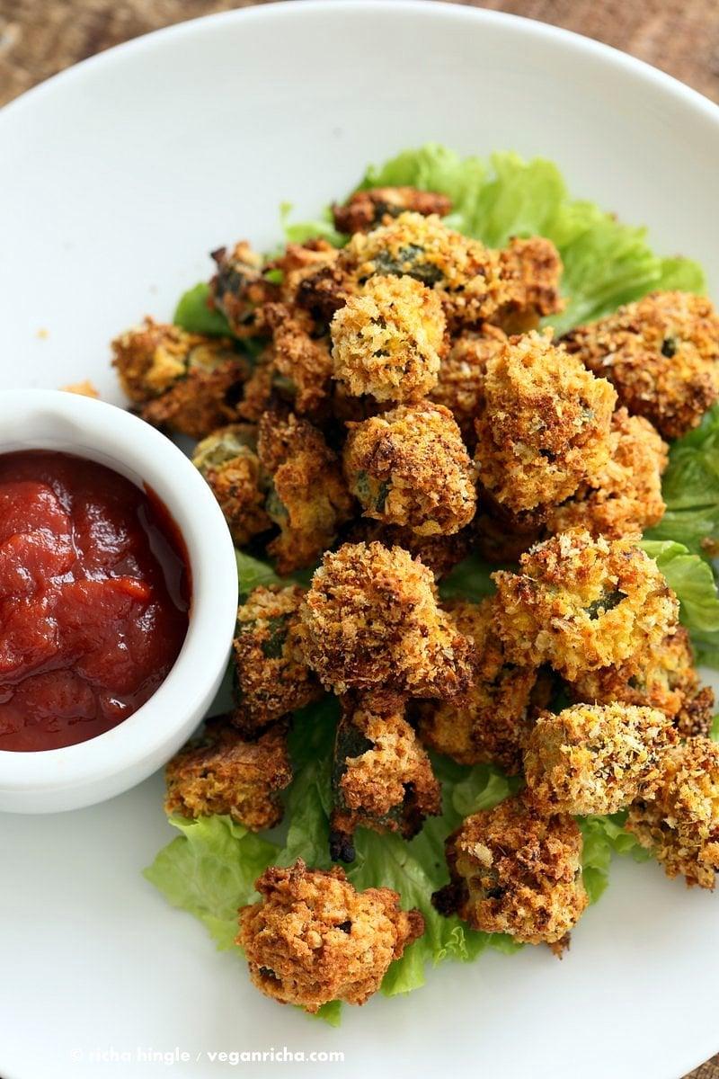 Vegan Dinner Party Ideas Part - 40: Vegan Popcorn Okra 3138