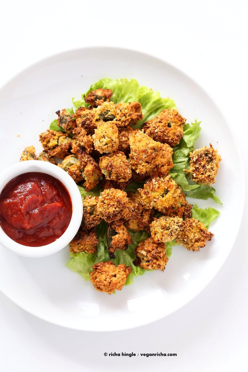 Baked Popcorn Okra. Okra /bhindi tossed in chickpea flour batter, coated in spiced breadcrumbs and baked until crunchy crisp. Vegan Recipe, can be gluten-free | VeganRicha.com