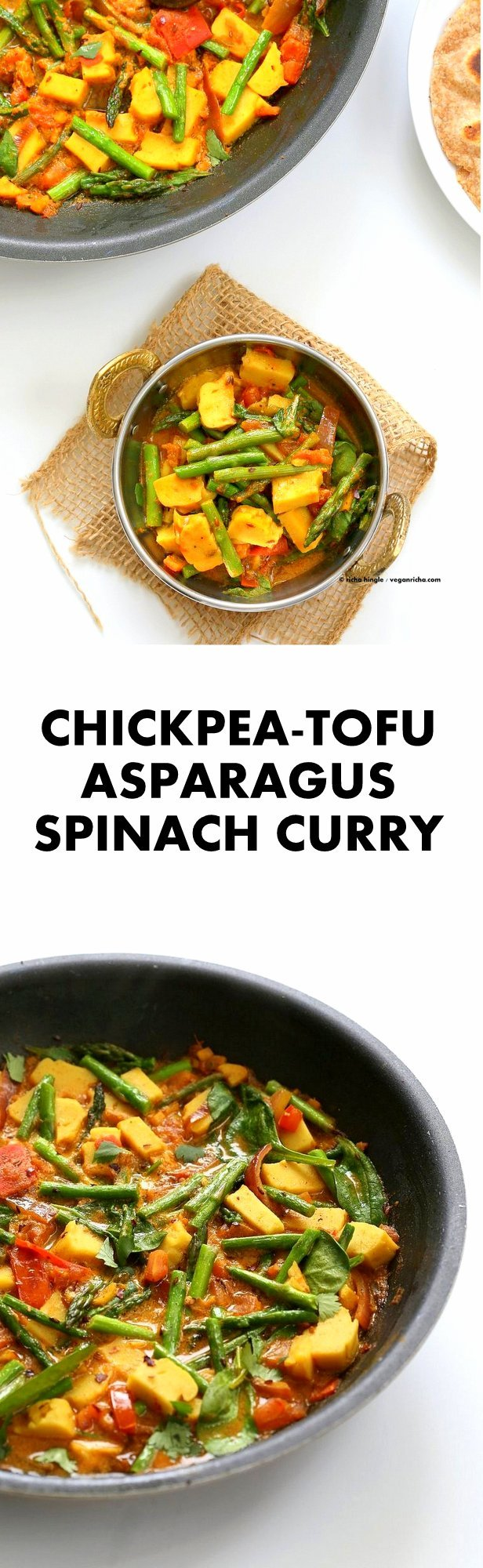 Easy Asparagus Curry with Chickpea Tofu and Indian Spices and tomato sauce. #Indian #Vegan #Glutenfree #Soyfree #Recipe. Serve with Rice or flatbread. | VeganRicha.com