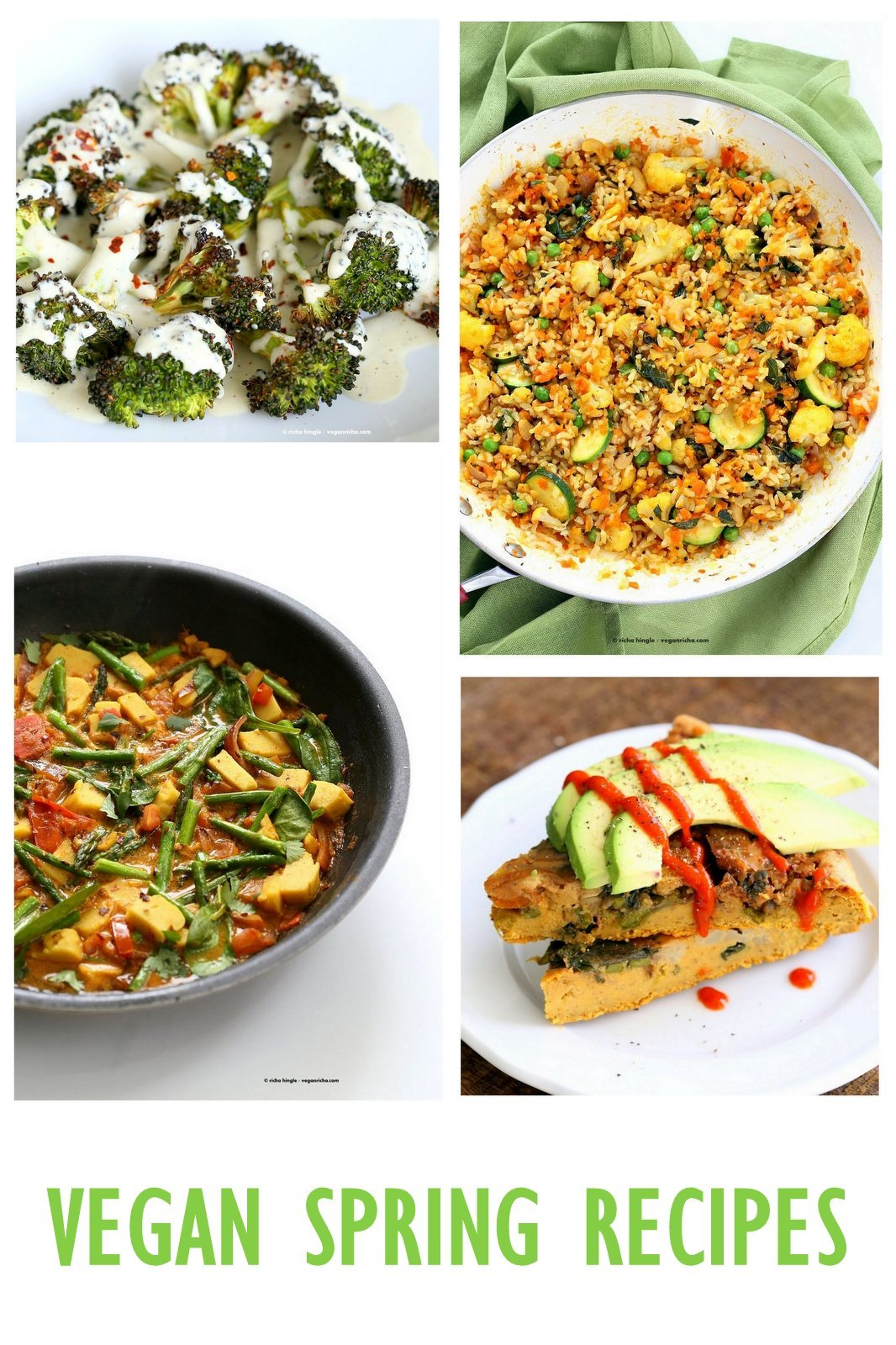 Vegan Spring Recipes. Spring Dinners, Soups, Appetizers and Desserts with seasonal produce like Asparagus, Strawberries, Carrots, Brussels Sprouts and more. Gluten-free Soy-free Options | VeganRicha.com