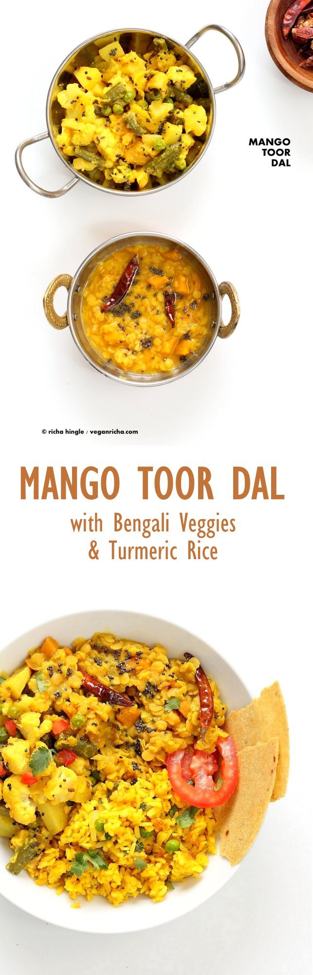 Indian Mango Dal. Toor Dal with unripe or ripe mango and 6 ingredients. Easy 1 pot soup or side. Use other lentils or veggies for variation. #Vegan #Indian #Dal #Recipe #Glutenfree #Soyfree with Bengali Veggies | VeganRicha.com