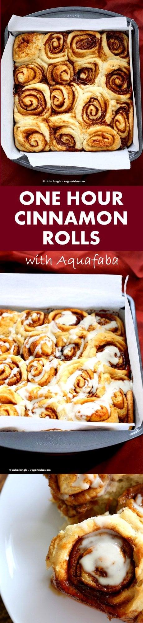 1 hour Cinnamon Rolls with Aquafaba. Easy Homemade Vegan Cinnamon Rolls with Cashew cream frosting. Ready in 60 minutes. #Vegan #Soyfree #PalmOilfree #Breakfast #Recipe | VeganRicha.com