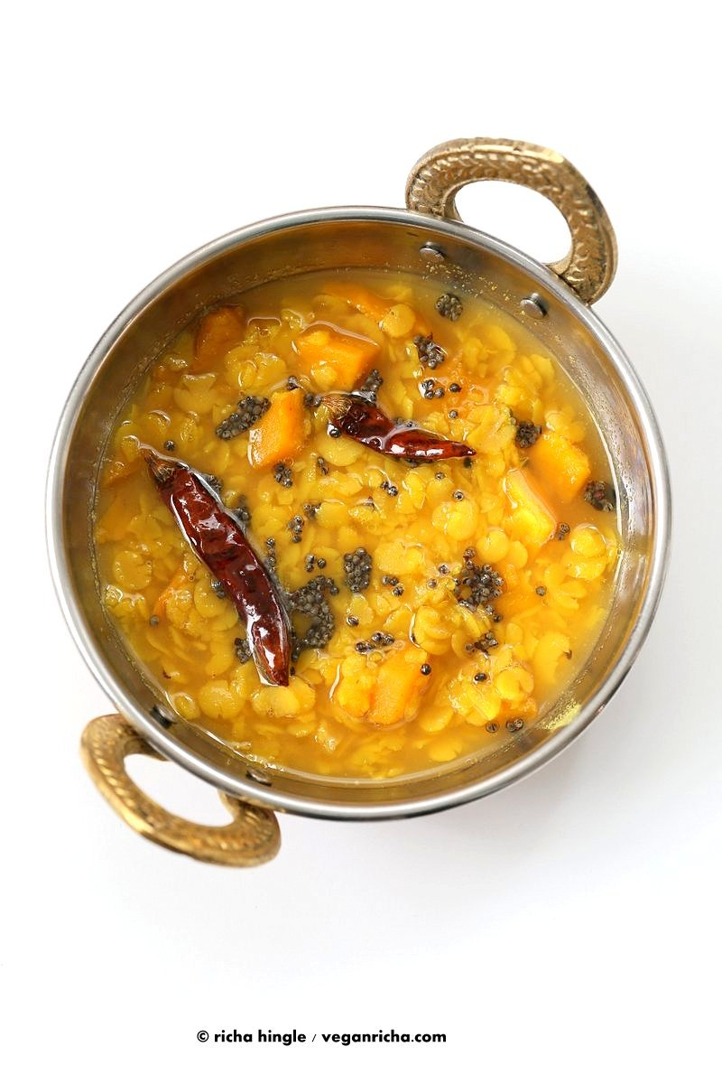 Indian Mango Dal. Toor Dal with unripe or ripe mango and 6 ingredients. Easy 1 pot soup or side. Use other lentils or veggies for variation. Vegan Indian Dhal Recipe Gluten-free Soy-free.| VeganRicha.com