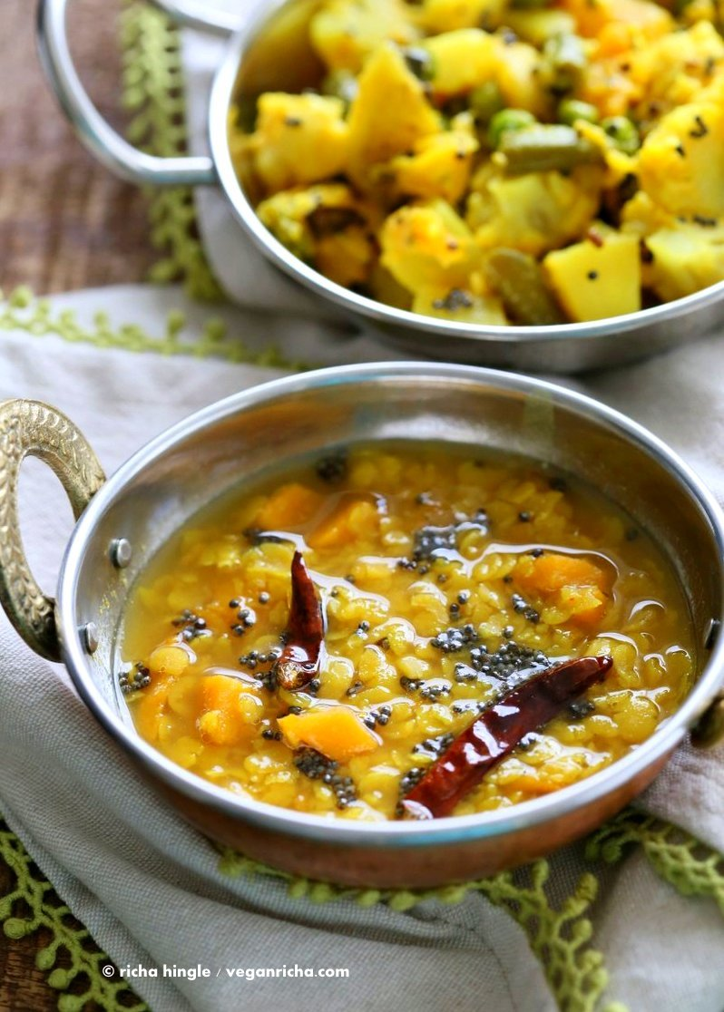 Indian Mango Dal. Toor Dal with unripe or ripe mango and 6 ingredients. Easy 1 pot soup or side. Use other lentils or veggies for variation. Vegan Indian Dhal Recipe Gluten-free #Soyfree with Bengali Veggies | VeganRicha.com