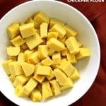 Chickpea flour Tofu. 10 min Non soy tofu made with Chickpea flour or Besan / gram flour. Easy Burmese tofu. Vegan Gluten-free Soy-free Nut-free Recipe.| VeganRicha.com #glutenfree #veganricha #vegan
