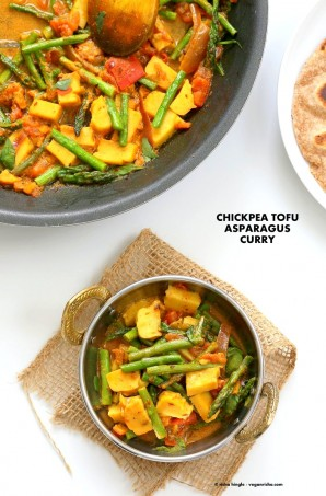 Easy Asparagus Curry with Chickpea Tofu and Indian Spices and tomato sauce. Indian Vegan Gluten-free Soy-free Recipe. Serve with Rice or flatbread. | VeganRicha.com #glutenfree #veganricha #vegan