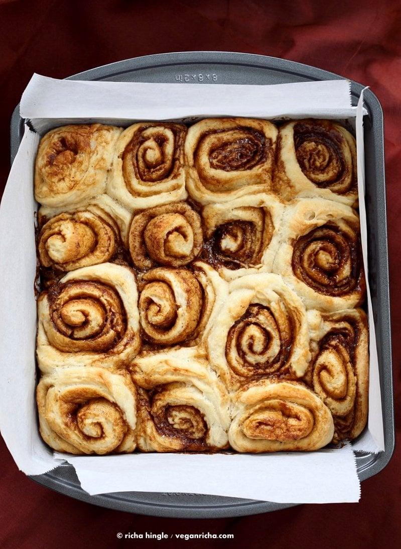 Easy Homemade 1 hour Cinnamon Rolls. Vegan Cinnamon Rolls with Cashew cream frosting. Ready in 60 minutes. Vegan Soy-free Palm Oil free Breakfast Recipe | VeganRicha.com