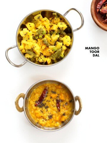 Indian Mango Dal. Toor Dal with unripe or ripe mango and 6 ingredients. Easy 1 pot soup or side. Use other lentils or veggies for variation. Vegan Indian Dhal Recipe Gluten-free #Soyfree with Bengali Veggies | VeganRicha.com #vegan #glutenfree #veganricha