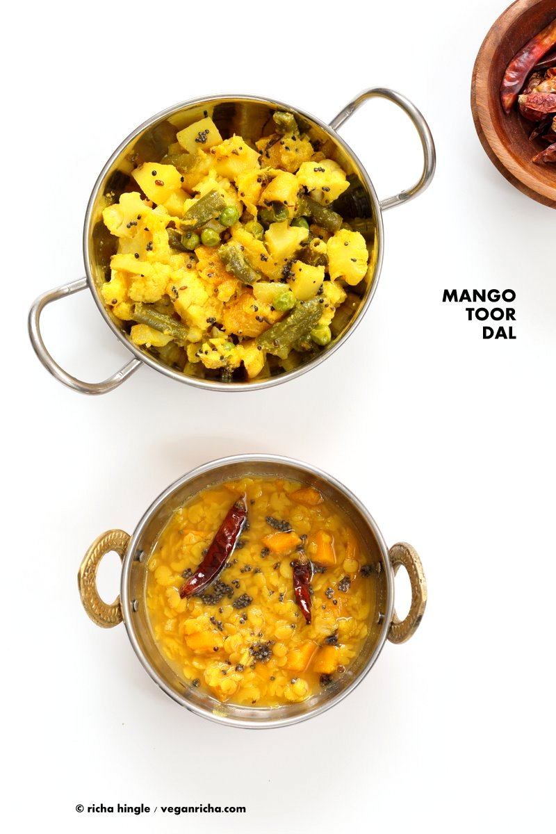 Indian Mango Dal. Toor Dal with unripe or ripe mango and 6 ingredients. Easy 1 pot soup or side. Use other lentils or veggies for variation. #Vegan #Indian #Dhal #Recipe #Glutenfree #Soyfree with Bengali Veggies | VeganRicha.com