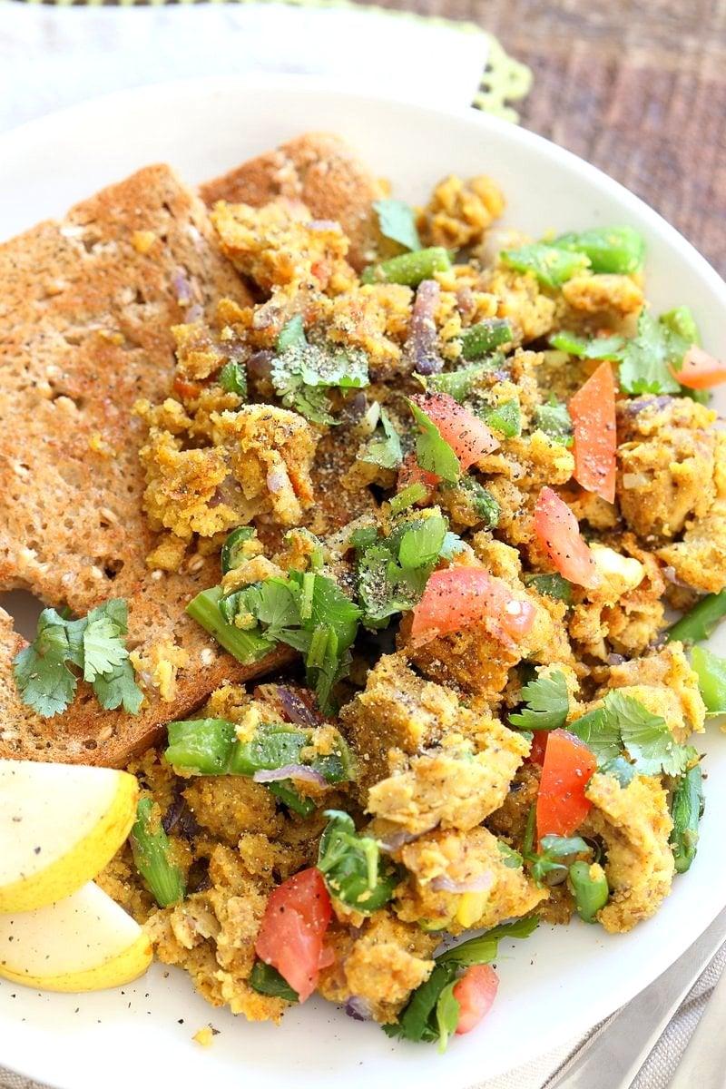 Easy Chickpea flour Scramble. Soy-free Breakfast Scramble with veggies. Make with lentil flour or lentil batter for variation. Vegan Gluten-free Recipe | VeganRicha.com