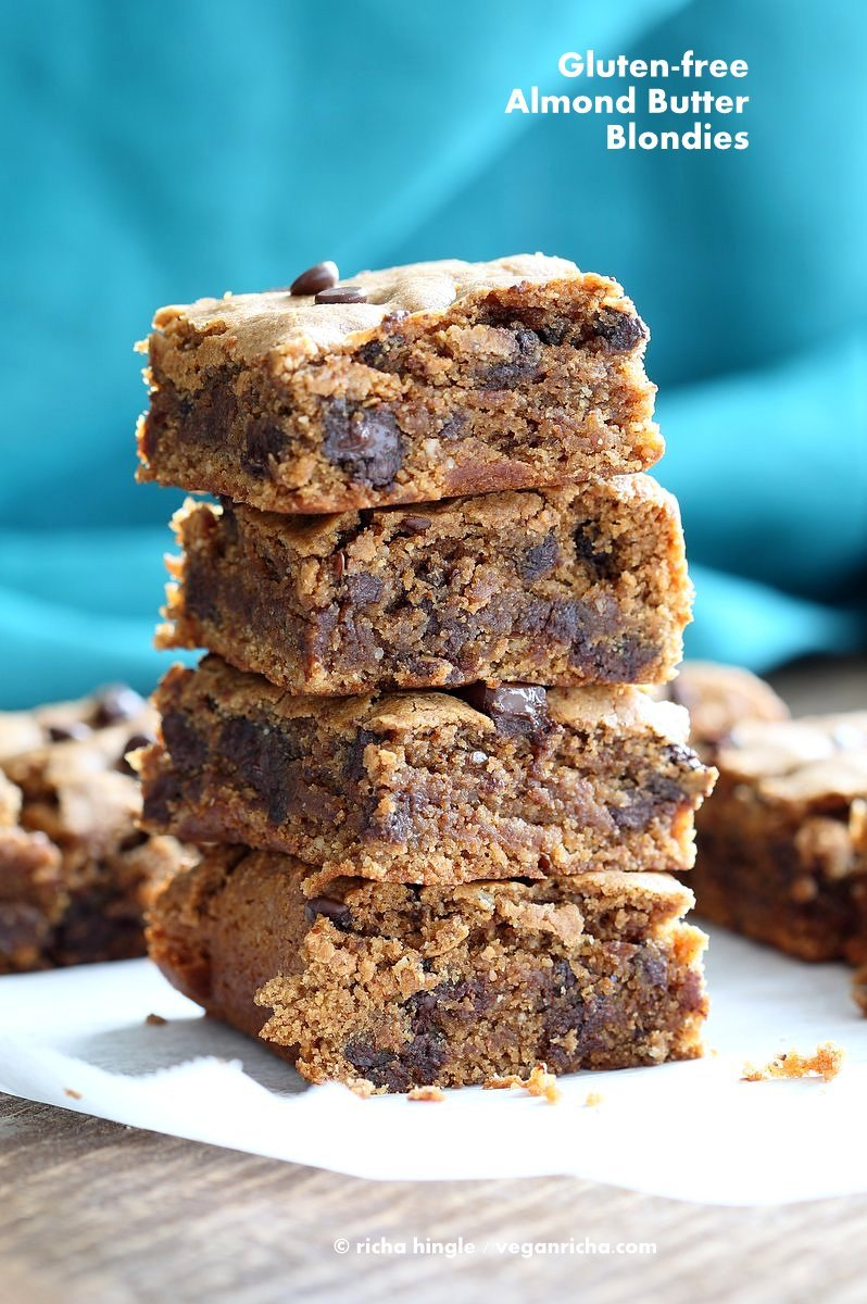 Gluten free Almond Butter Blondies with Chocolate Chunks and Chocolate Chips. GlutenFree Blondies Vegan Blonde Brownies. Peanut Butter Blondies. #vegan #glutenfree #Soyfree #Recipe | VeganRicha.com