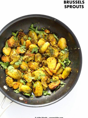 Pan Roasted Brussels Sprouts Subzi with Cumin and Mustard Seeds. Easy Spiced Brussels Sprouts. Serve in a bowl with Dal and Rice or as a side. Vegan gluten-free Soy-free Indian Recipe.   VeganRicha.com #vegan #glutenfree #veganricha