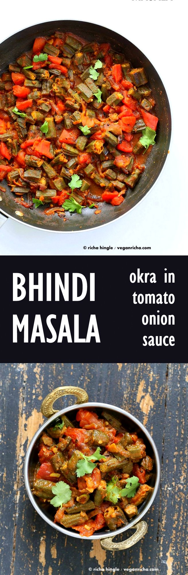 Bhindi Masala Recipe. Indian Okra Curry. Lightly spiced Okra in onion tomato curry. Restaurant style Masala Bhindi. #Vegan #Glutenfree #Soyfree #Indian #Recipe | VeganRicha.com