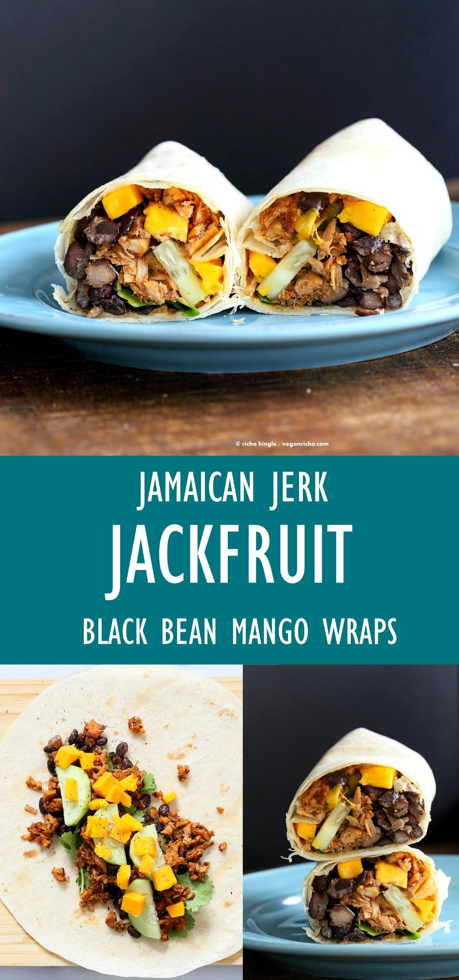 Jamaican Jerk Jackfruit Caribbean Black Bean Mango Wraps. These Burritos are packed with hot shredded jerk jackfruit, black beans, mango and cucumbers. Serve as wraps or make a sandwich or bowl. #Vegan #Soyfree #Recipe. Can be #glutenfree | VeganRicha.com