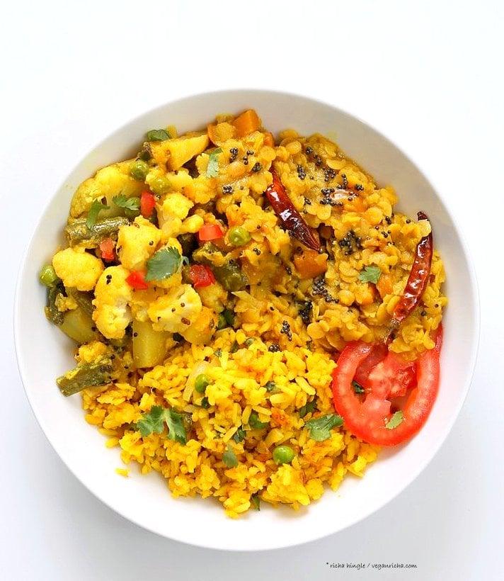 Bengali Mixed Veggies - Charchari Recipe. Cauliflower Potato Green Beans Peas with Bengali (Eastern Indian) Spices. Panch Phoron Phulkopi Recipe. Easy Veggie Side. Vegan Gluten-free Soy-free Recipe. | VeganRicha.com