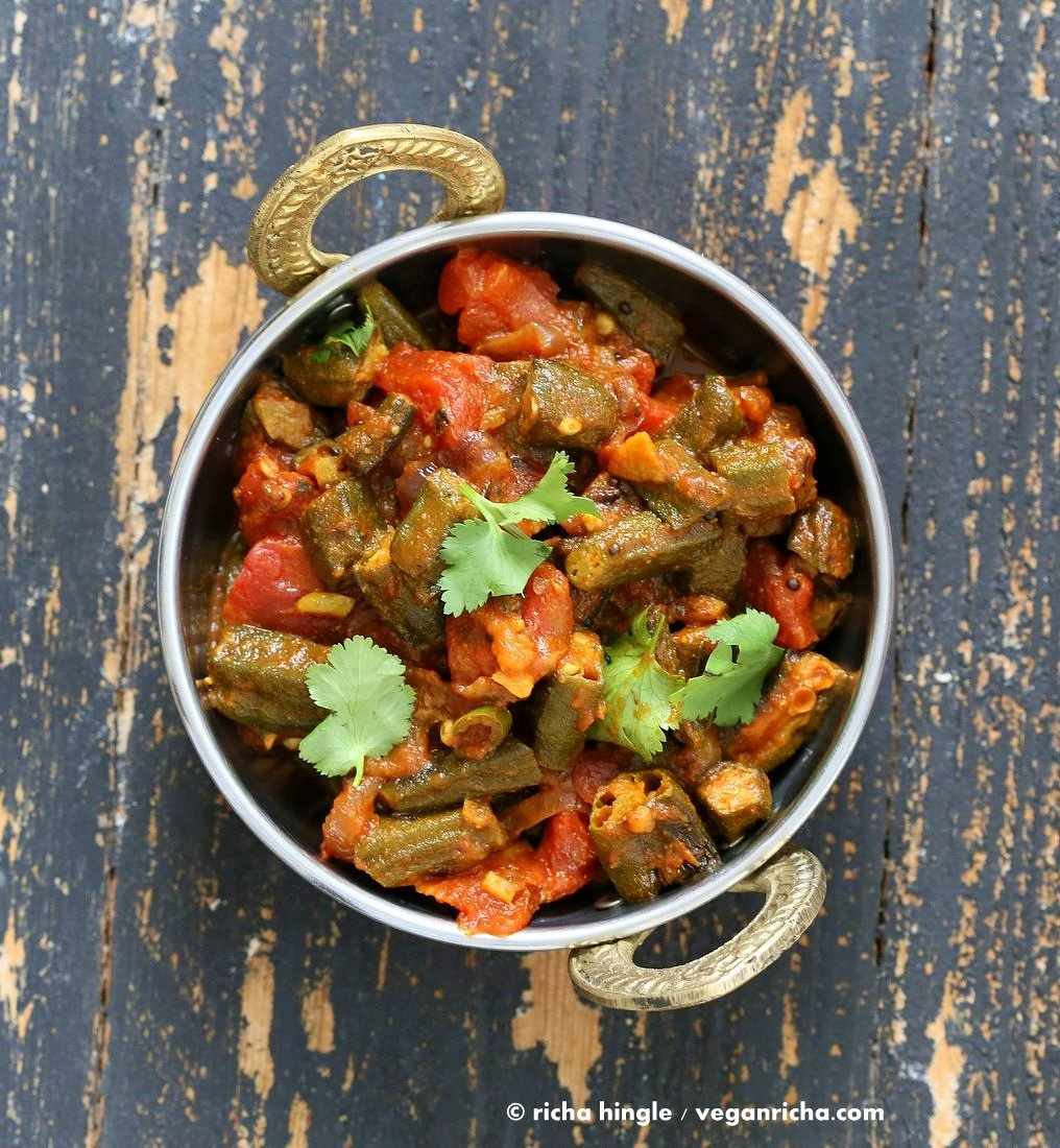 Bhindi Masala Recipe. Indian Okra Curry. Lightly spiced Okra in onion tomato curry. Restaurant style Masala Bhindi. Vegan Gluten-free Soy-free Indian Recipe | VeganRicha.com