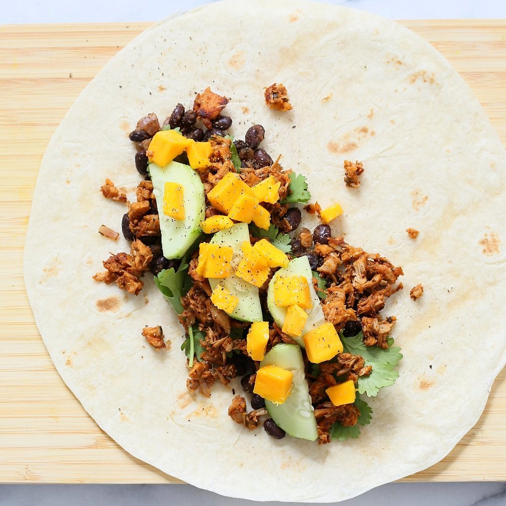 Jamaican jerk jackfruit caribbean black bean mango wraps vegan richa jamaican jerk jackfruit caribbean black bean mango wraps these burritos are packed with hot shredded forumfinder Image collections