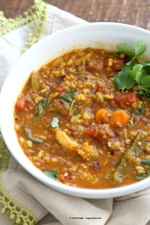 Lentil Brown Rice Soup. Easy 1 pot Lentil Rice Soup with Spinach or greens of choice. 20 minutes active time then let everything simmer. Serve with crackers, papadum or grilled vegan cheese sandwiches. Vegan Gluten-free Soy-free Recipe   VeganRicha.com