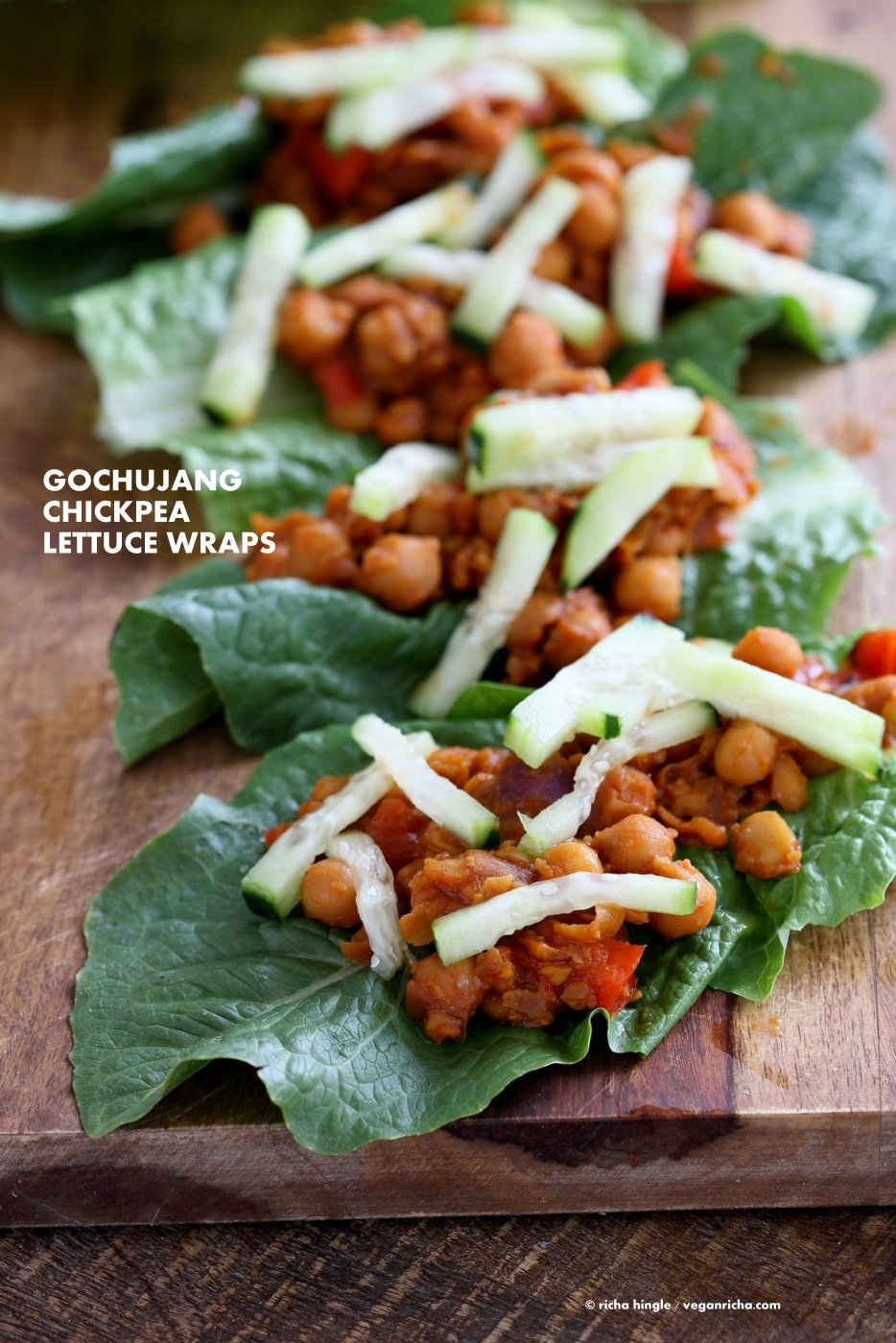 Sweet Spicy Gochujang Chickpea Lettuce Wraps