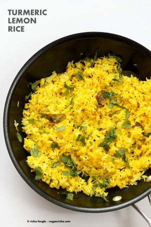 Turmeric Lemon Rice Recipe. Golden Rice with turmeric, lemon and mustard seeds. Use cooked brown rice, quinoa or millet or couscous for variation. Easy side. Vegan Gluten-free Soy-free Recipe | VeganRicha.com #vegan #glutenfree #veganricha