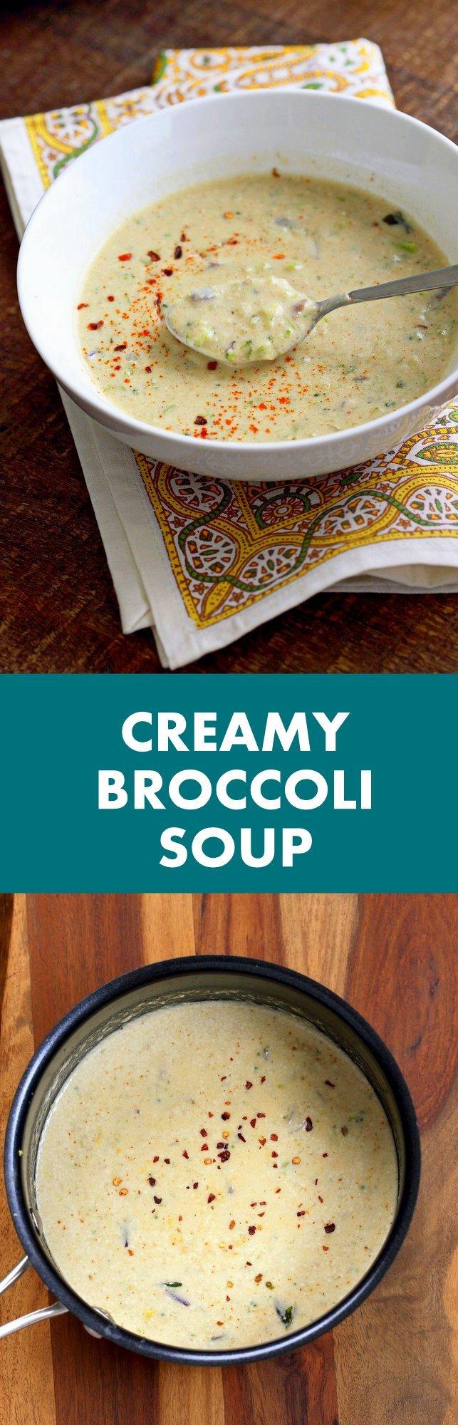 Easy Creamy Vegan Broccoli Soup. Shredded broccoli with spices, basil and a creamy cashew sauce. Chunky Cream of Broccoli Soup. Vegan Glutenfree Soyfree Recipe   VeganRicha.com