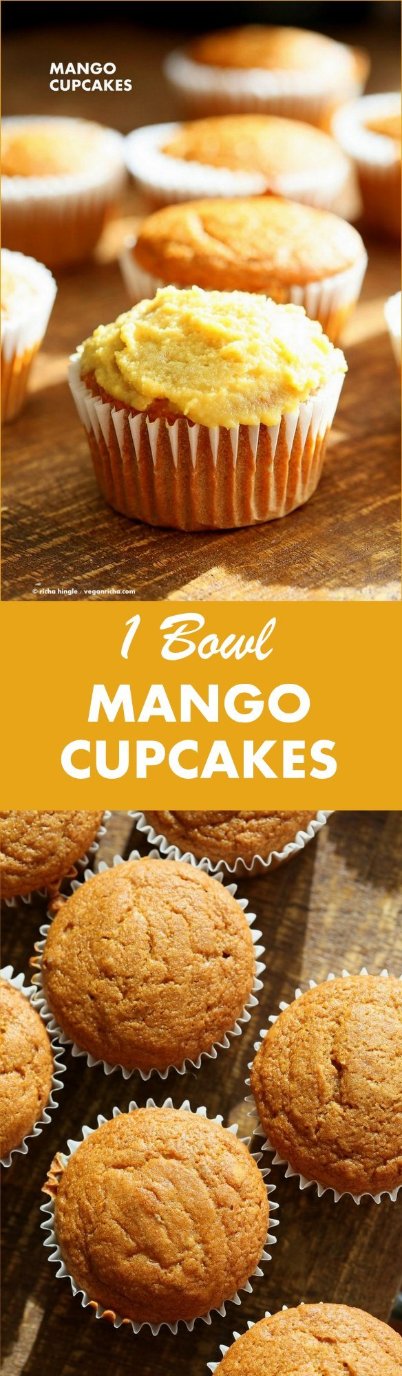 One Bowl Vegan Mango Cupcakes. Easy Mango Cupcake or Cake Recipe. Whisk up the dry ingredients. Add in mango puree and bake. Easy tropical cupcakes. Frost with frosting of choice. #Vegan #cake #mango #Recipe | VeganRicha.com
