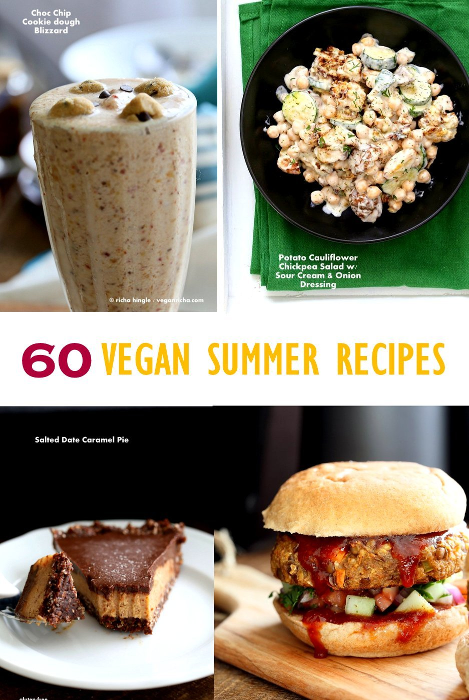 Vegan Summer Recipes for Barbecue, Grill, Picnics. Grill-able Burgers, filling Salads, Drinks, desserts, July 4th cookout menu. Summer Produce Recipes. Vegan Vegetarian Grilled Recipes. Vegan BBQ. | VeganRicha.com