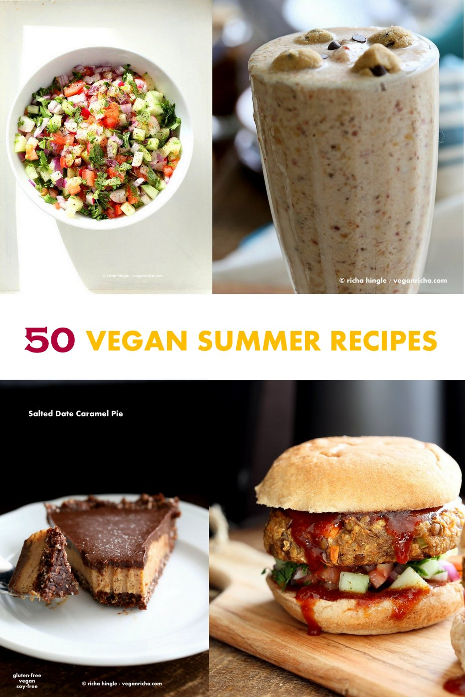 Vegan Summer Recipes for Barbecue, Grill, Picnics. Grill-able Burgers, filling Salads, Drinks, desserts, July 4th cookout menu. Summer Produce Recipes. Vegan Vegetarian Grilled Recipes. Vegan BBQ. Gluten-free Soy-free Options| VeganRicha.com