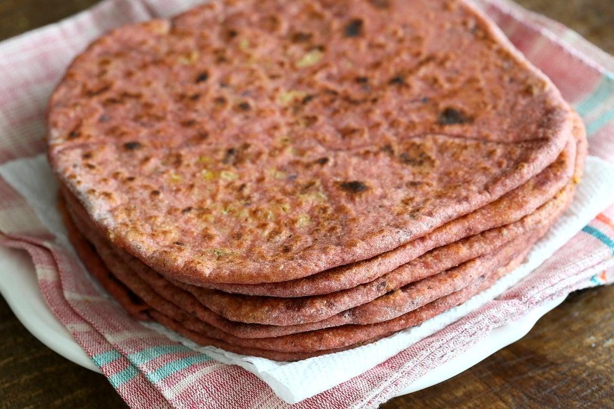 Beetroot Paratha - Beet flatbread Stuffed with Split Peas. Easy Pink flatbread stuffed with spiced split peas or chickpeas. Vegan Yeast-free flatbread Recipe   VeganRicha.com